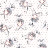 Aquarellteddybär betrifft einen punktierten rosa Hintergrund Handgemaltes nahtloses Muster für Babygewebe Lizenzfreie Stockbilder