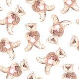 Aquarellteddybär Handgemaltes nahtloses Muster für Babygewebe Lizenzfreies Stockbild
