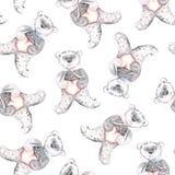 Aquarellteddybär Handgemaltes nahtloses Muster für Babygewebe Lizenzfreie Stockfotografie