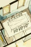 Aquarelltinten-Handzeichenzeichnung des teilweisen Hausgrundrisses als aquarell Malerei, die isometrische Esszimmeransicht zeigt Stockfotografie