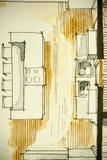 Aquarelltinten-Handzeichenzeichnung des teilweisen Hausgrundrisses als aquarell Malerei, die Küche Draufsicht zeigt Stockbilder