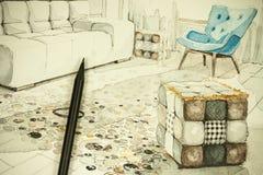 Aquarelltintenhandzeichen-Perspektiven-Architekturzeichnung des Wohnzimmers in einer Wohnung flach mit einem Bleistift Lizenzfreies Stockbild