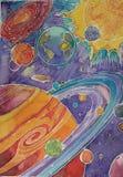 Aquarellums fertiges Malen, gemalt von einem Kind lizenzfreie abbildung