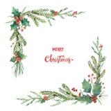 Aquarellvektor Weihnachtsdekorative Ecke mit Tannenzweigen und Blumenpoinsettias Stockfotos