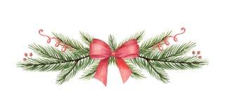 Aquarellvektor Weihnachtskranz mit grünen Tannenzweigen und rotem Bogen stock abbildung