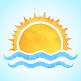 Aquarellvektoraufgehende sonne mit Meereswellen Lizenzfreie Stockbilder