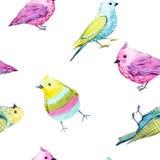 Aquarellvogelmuster Lizenzfreie Stockfotografie