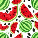 Aquarellwassermelonenscheiben, nahtloser Hintergrund Vektor Illust Stockfoto