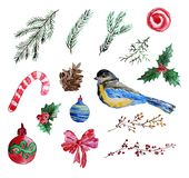 Aquarellweihnachtsclipart Stockfotografie