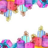 AquarellWeihnachtsgeschenk die Schablone, die auf weißem Hintergrund lokalisiert wird stock abbildung