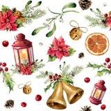 Aquarellweihnachtsnahtloses Muster mit Dekor und Laterne Baumverzierung des neuen Jahres mit Laterne, Glocke, Stechpalme lizenzfreie abbildung