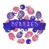 Aquarellweinlese-Beerenhintergrund mit Band und handgeschriebenem Text Lizenzfreies Stockfoto