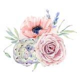 Aquarellweinlese-Blumenzusammensetzung Stockfotografie