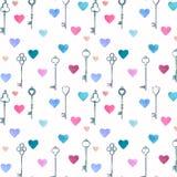 Aquarellweinlese-Metallschlüssel gezeichnet durch Hände und Rosa, nahtloses Muster der blauen Herzen lizenzfreie abbildung