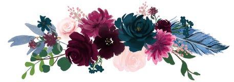 Aquarellweinleseblumenzusammensetzung rosa und blaue Blumenstrauß-Blumen und Federn lizenzfreie abbildung
