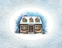 Aquarellwinterhaus mit Schnee im ovalen Rahmen stock abbildung
