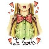 Aquarellzeichnung auf dem Thema von Valentinsgruß ` s Tag, die Mädchenküsse, rote Lippen, hält eine Bogenfliege, Hemd, Valentinsg lizenzfreie abbildung