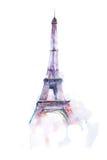 Aquarellzeichnung des Eiffelturms in Paris auf weißem Hintergrund Stockfotografie