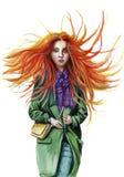 Aquarellzeichnung eines rothaarigen Mädchens, in dem das Haar im Wind in einem grünen Mantel in einem lila Schal, mit grünen Auge Lizenzfreie Stockfotos