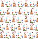 Aquarellzeichnungen, Weihnachtsillustrationen, Lebkuchenhausmuster, Gnom mit einem Weihnachtsbaum und Kerzen vektor abbildung