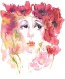 Aquarellzeichnungs-Sommermädchen von Mohnblumen vektor abbildung