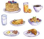 Aquarellzeichnungsfrühstück lizenzfreies stockbild