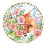 Aquarellzeichnungsgesicht eines Fuchses mit Blumen in einem dekorativen Ci stockbilder