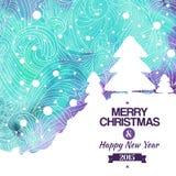 Aquarellzeichnungshintergrund der frohen Weihnachten Stockbild