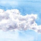 Aquarellzeichnungswolken Stockfotografie