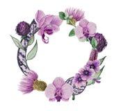 Aquarellzusammensetzung in Form eines Kranzes von Blumen: stockfotografie