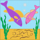 Aquarian small fishes saw worms Royalty Free Stock Images