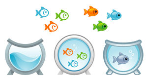 Aquarium. And fishes on a white background royalty free illustration