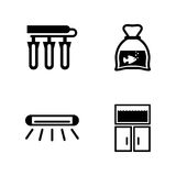Aquarium accessories. Simple Related Vector Icons. Set for Video, Mobile Apps, Web Sites, Print Projects and Your Design. Black Flat Illustration on White Royalty Free Stock Photography