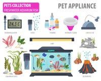 Aquarium appliance icon set flat style isolated on white. Freshw Royalty Free Stock Image