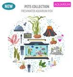Aquarium appliance icon set flat style isolated on white. Freshw Royalty Free Stock Photos