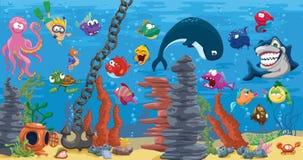 Aquarium avec le beaucoup de poissons Images stock