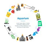 Aquarium Banner Card Circle. Vector. Aquarium Banner Card Circle with Fish, Blue Water and Equipment Hobby or Decor Interior Home Include of Thermometer, Bowl Stock Photography
