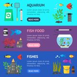 Aquarium Banner Horizontal Set. Vector. Aquarium Banner Horizontal Set Hobby or Decor Interior Home Include of Thermometer, Bowl, Filter and Lamp . Vector Stock Photography