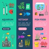 Aquarium Banner Vecrtical Set. Vector. Aquarium Banner Vecrtical Set Hobby or Decor Interior Home Include of Thermometer, Bowl, Filter and Lamp . Vector Royalty Free Stock Images
