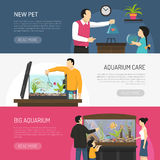 Aquarium Banners Set. Horizontal flat aquarium banners with people watching and buying fish isolated vector illustration Stock Photos