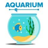 Aquarium Cartoon Vector. Fish Home Glass Tank. Fish Habitat House Underwater Tank Bowl. Isolated Flat Illustration. Aquarium Cartoon Vector. Fish Home Glass Tank Royalty Free Stock Photos