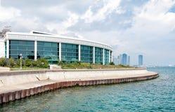Aquarium Chicagos Shedd mit Michigansee und Skylinen Lizenzfreies Stockbild