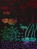 Aquarium coloré de poissons de verre souillé illustration de vecteur