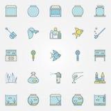 Aquarium colorful icons Stock Image