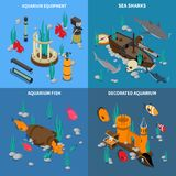 Aquarium Concept Icons Set. With fish symbols isometric isolated vector illustration Stock Photo