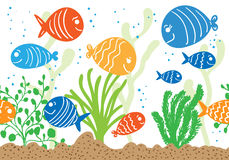 Aquarium doodle seamless pattern. Royalty Free Stock Photography