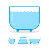 Aquarium empty on white background. Clear glass jar for fish.  Stock Photography