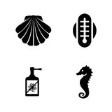 Aquarium equipment. Simple Related Vector Icons. Set for Video, Mobile Apps, Web Sites, Print Projects and Your Design. Black Flat Illustration on White Stock Photography