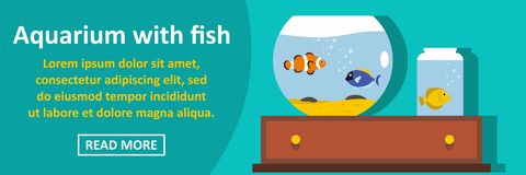 Aquarium with fish banner horizontal concept. Flat illustration of aquarium with fish banner horizontal vector concept for web Stock Photos
