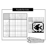 Aquarium with fish. Black and white japanese crossword with answer. Nonogram with answer. Graphic crossword. Puzzle game for kids Stock Photography